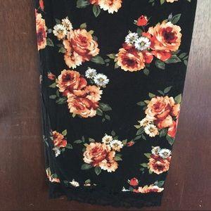 Black cotton long skirt with flower print